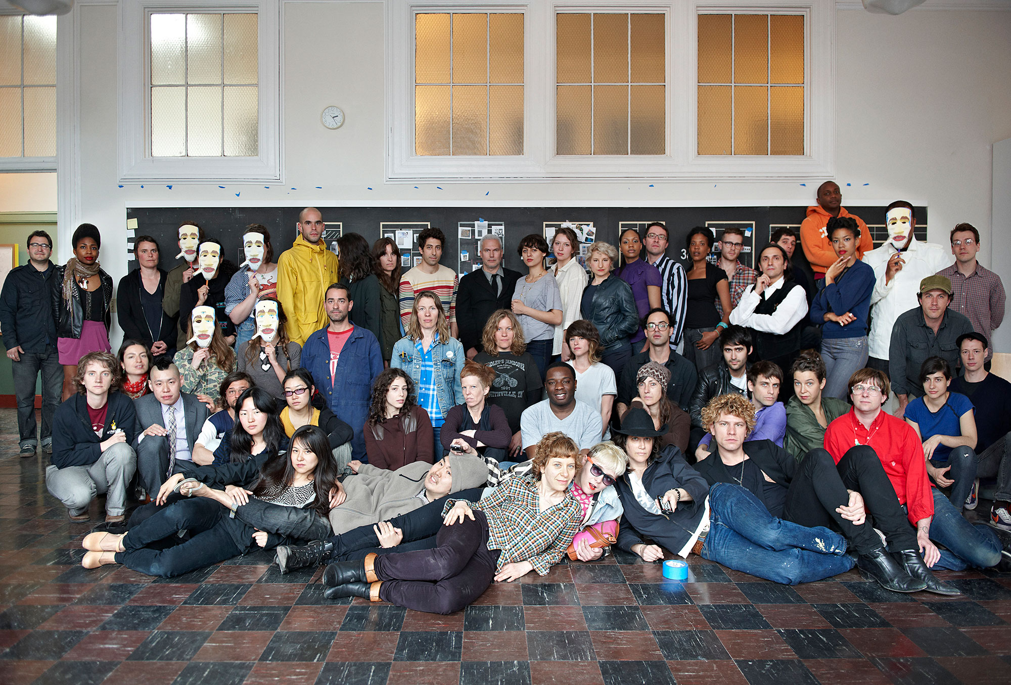 Group portrait of Greater New York artists at MoMA PS1, 2010