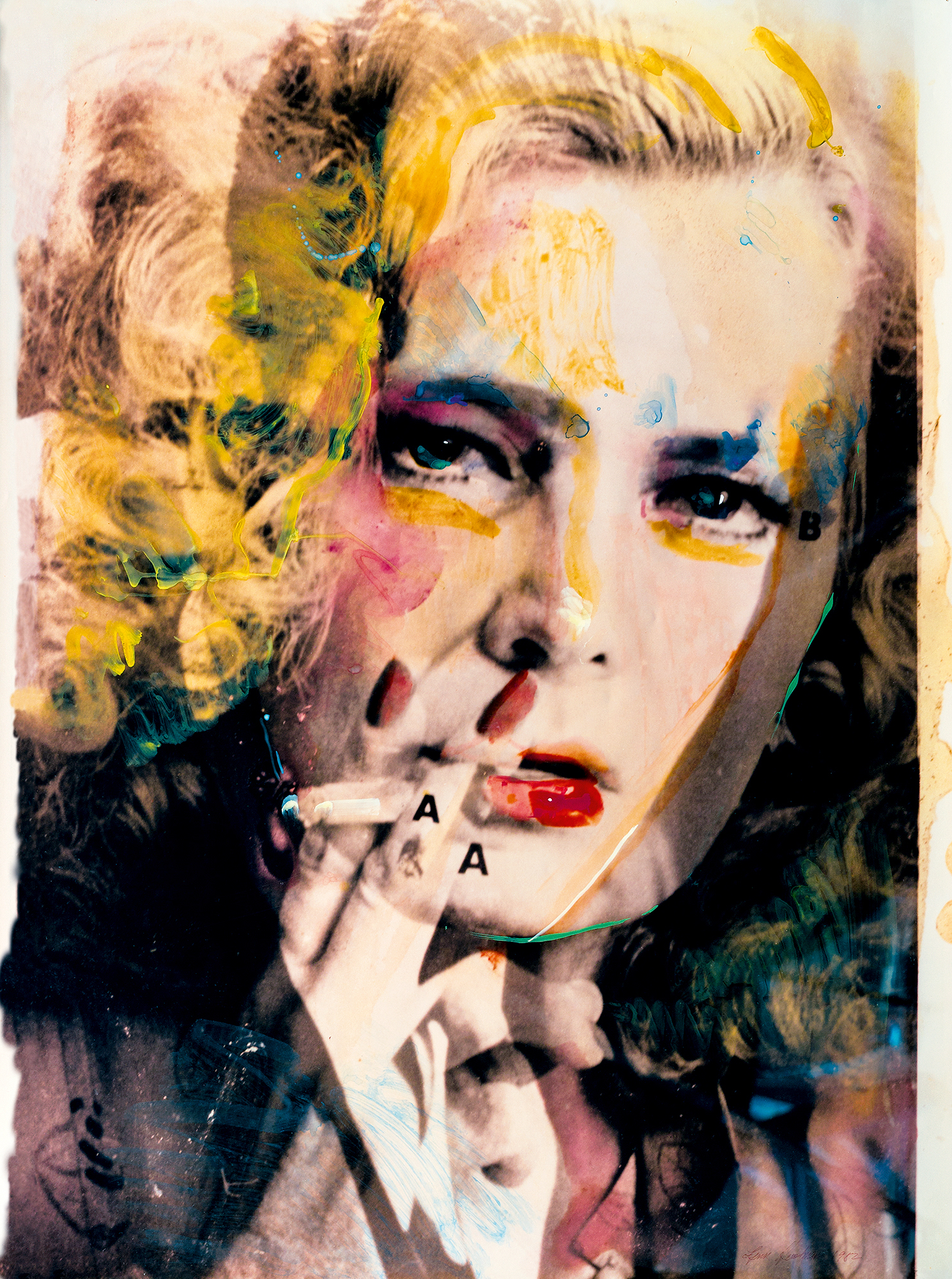 Rowlands/Bogart (Female Dominant), 1982, from the series Hero Sandwich. Hand-painted collage